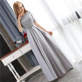 高端新款2016韩版晚礼服银灰色长款主持晚礼服婚纱礼服