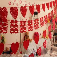 【包邮】创意婚房装饰 LOVE 爱心 丝带无纺布拉条 送挂钩