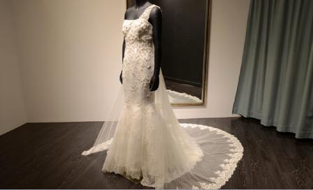 高级婚纱定制 苏州实体店 斜肩钉珠拖尾婚纱