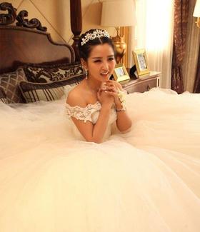 新款婚纱礼服韩版一字肩婚纱礼服