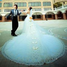 新款新娘婚纱礼服长拖尾显瘦韩式蝴蝶抹胸复古绑带甜美H131