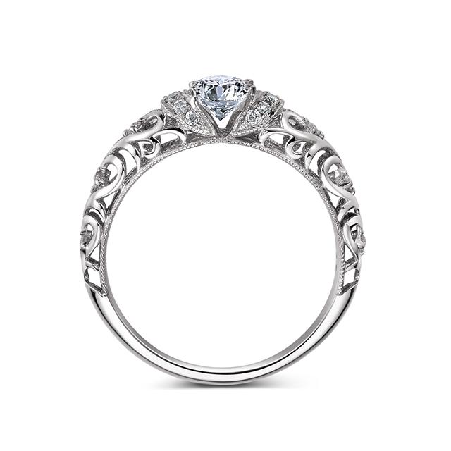 古典巴洛克花纹滚珠戒指
