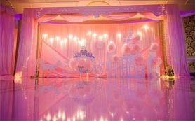 粉色唯美婚礼led大屏背景ppt模板