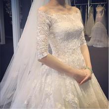 【下单即送8件套】新娘一字肩婚纱拖尾蕾丝婚纱礼服结婚齐地婚纱