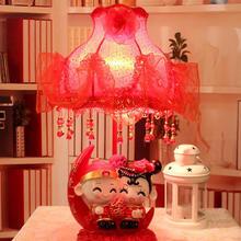 创意月亮款相爱一生婚庆台灯床头灯红色 新中式布艺台灯新婚摆件