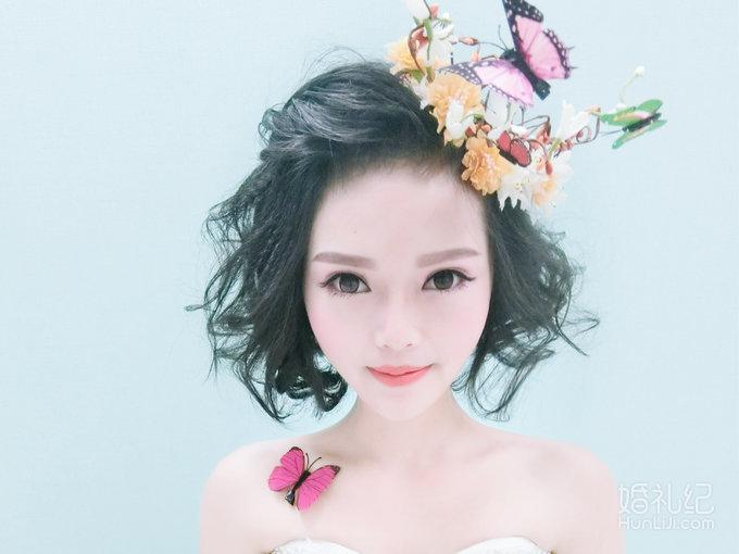 周沙形象设计-短发新娘也可以如此俏皮