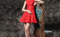 短款蕾丝小礼服红色订婚服敬酒服婚礼晚礼服结婚回门服