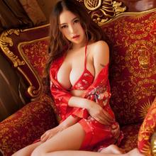 红色婚庆三点式内衣文胸套装性感情趣内衣浴袍结婚礼物性感睡衣