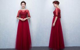 2016新款蕾丝显瘦齐地红色敬酒服新娘礼