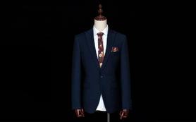 【TINS西服定制】深蓝波点羊毛男士正装西服礼服