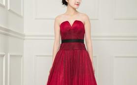 圣柏莎盛世红妆高定酒红礼服