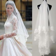 欧美高档新娘象牙纯白色头纱 蕾丝花边婚纱配件 3米头纱