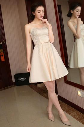 爱慕 新娘结婚短裙 新款韩版伴娘服姐妹裙甜美短款婚礼服