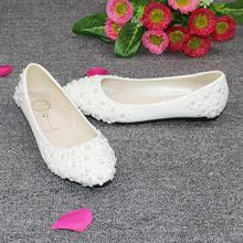 蕾丝花朵贴大珍珠白色平底新娘鞋结婚鞋子不同的跟高度选择包邮