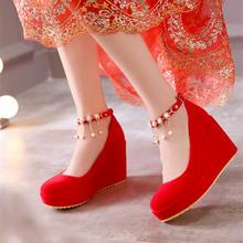 2016春夏季新款婚鞋红色结婚鞋女单鞋坡跟新娘鞋孕妇红鞋婚礼