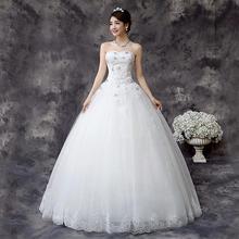 送三件套2016新款婚纱礼服韩式公主蕾丝花朵抹胸婚纱MD67