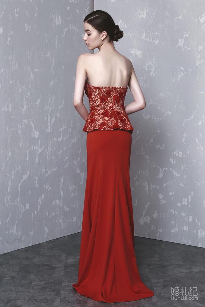 红色抹胸混中式晚礼服