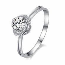【谛珂珠宝】武汉实体店40分18K白金钻石结婚戒指可定制钻戒