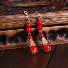 【32元包邮】新娘红白色耳环韩式无耳洞耳夹耳钉