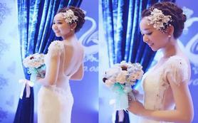 全施华洛世奇水晶珠链鱼尾蕾丝婚纱