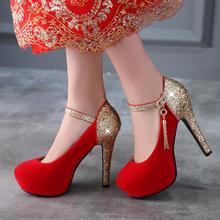 超高跟细跟水钻防水台一字带红色婚鞋夜店女单鞋子