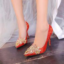 婚鞋春夏秋冬单鞋女婚鞋结婚鞋高跟鞋尖头红色新娘鞋绸缎绣花宴
