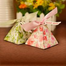高档婚礼喜糖盒结婚糖果盒粉色绿色三角喜糖盒子