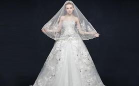 【高级定制】浪漫复古手工进口蕾丝拖尾婚纱