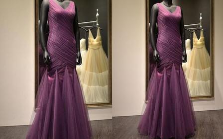 高级婚纱定制 苏州实体店 紫色鱼尾礼服
