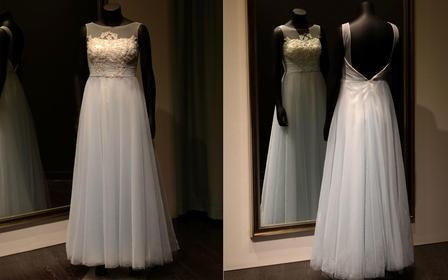 高级婚纱定制 苏州实体店 水蓝色钉珠礼服