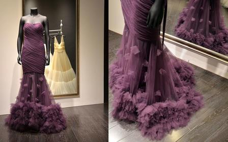 高级婚纱定制 苏州实体店 紫色抹胸绑带晚礼服