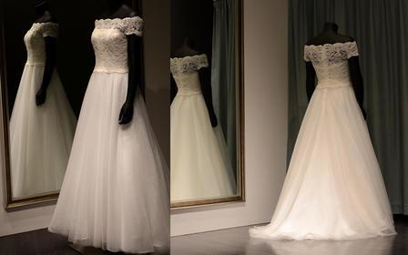 高级婚纱定制 苏州实体店 一字肩公主蓬裙婚纱
