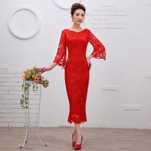 包邮送项链耳环】新款红色蕾丝短款新娘结婚敬酒服中长袖婚纱