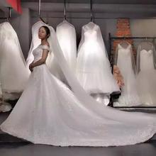 韩版优雅一字肩婚纱