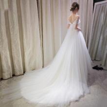 性感修身一字肩韩式公主新娘大拖尾婚纱礼服2016夏季新款