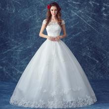 甜美蕾丝一字肩公主新娘修身显瘦齐地婚纱礼服2017春季新款