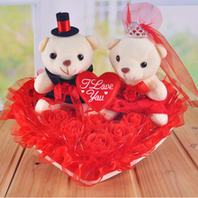 【包邮】结婚韩式主婚车装饰车头花套装小熊仿真花车布置用品
