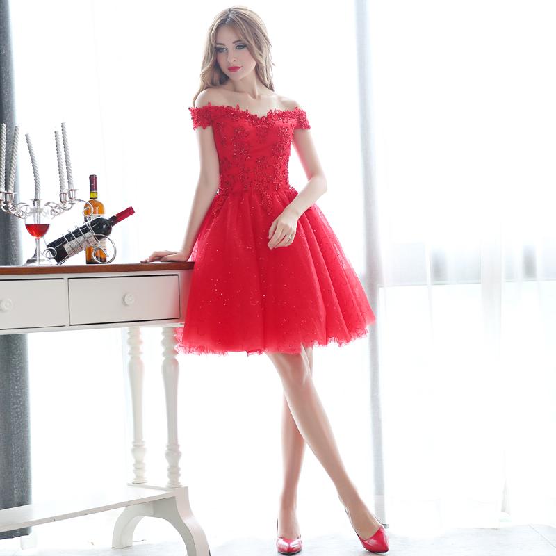 新娘敬酒服短裙v领红色一字肩蕾丝结婚礼服伴娘晚礼服