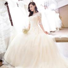 2017新婚纱韩版拖尾礼服一字肩新款中袖新娘香槟色HS535