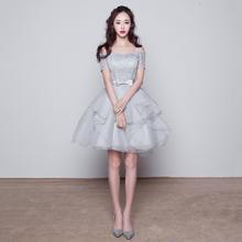 小礼服一字肩姐妹团伴娘服中长款姐妹裙短款显瘦婚纱LF352