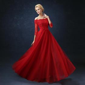 新款红色蕾丝中长袖新娘结婚敬酒服长款婚纱礼服