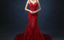 新款红色新娘结婚敬酒鱼尾婚纱晚装长款