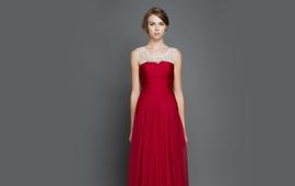 逸品定制 14216 酒红色时尚晚装礼服敬酒服