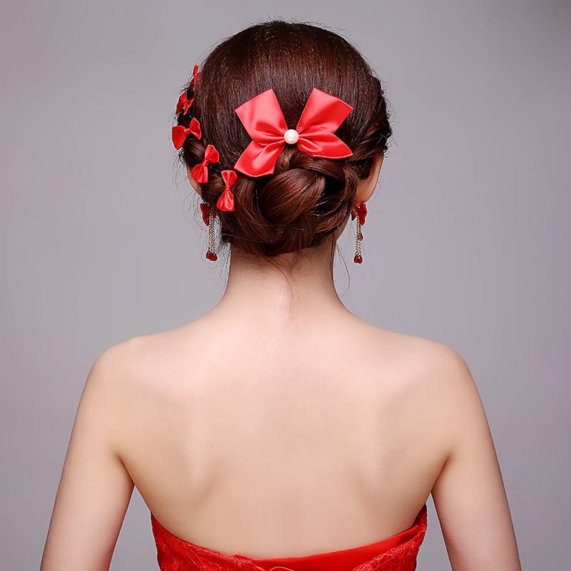 红色蝴蝶结新娘头饰套装八件套 中式结婚礼服旗袍配饰