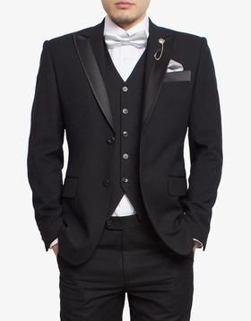 黑色半拼缎领马甲套装
