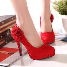 新款婚鞋女红色高跟鞋细跟单鞋中式结婚鞋子