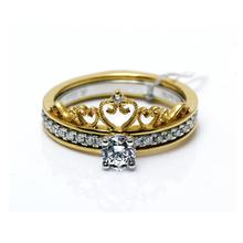 【谛珂珠宝】18K金皇冠款钻石戒指一戒多戴款双色金钻石婚戒