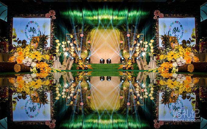 布置 迎宾区 主题森系背景 主题纱幔,森系道具装饰  仪式区 鲜花路引