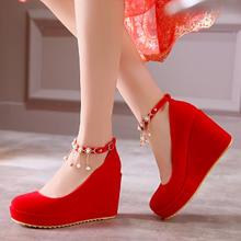 婚鞋春秋夏季新款婚鞋红色结婚鞋女单鞋坡跟新娘鞋孕妇红鞋婚礼