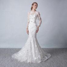 (定制)春夏鱼尾婚纱 新款新娘结婚长袖小拖尾双肩抹胸大码礼服